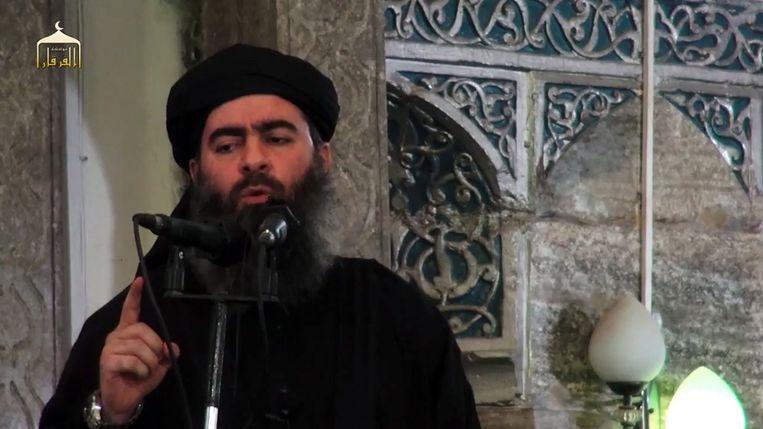 Een screenshot uit een propagandavideo van Islamitische Staat waarop Abu Bakr al-Baghdadi te zien zou zijn. Beeld anp