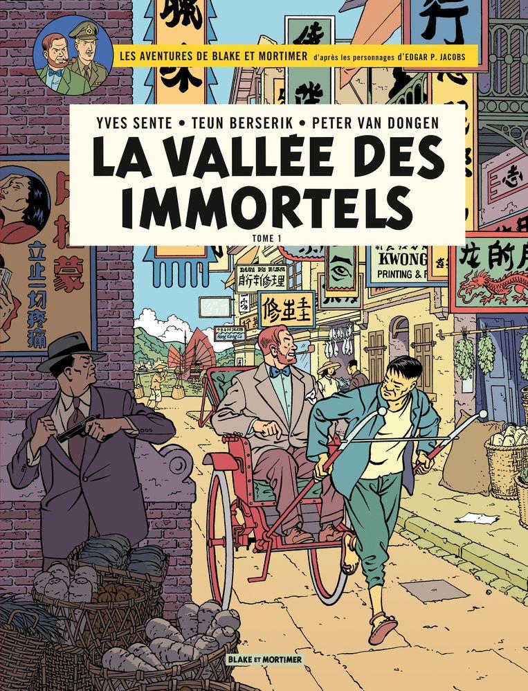 De nieuwe auteurs van de Europese bestseller 'Blake en Mortimer' zijn vanaf dit jaar Nederlanders. Dit is de in het Frans vertaalde versie van het album 'Vallei der onsterfelijken'.  Beeld RV