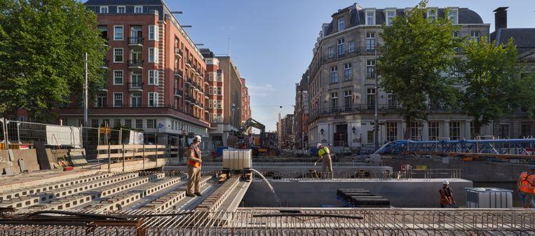 Werkzaamheden aan de brug. Beeld Gemeente Amsterdam