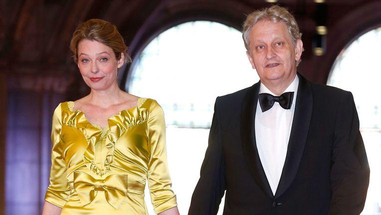 De Amsterdamse burgemeester Eberhard van der Laan gisteravond met zijn vrouw bij het Rijksmuseum. Beeld getty