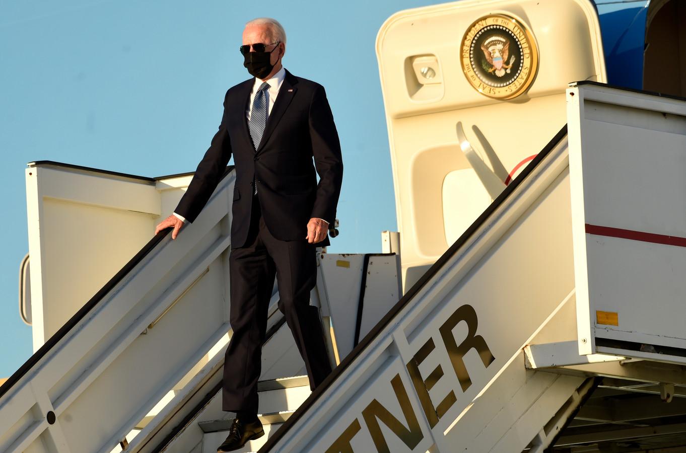 President Biden komt aan in Melsbroek.