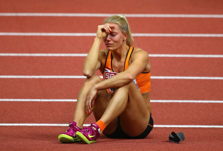 PRAGUE, CZECH REPUBLIC - MARCH 06:  Nadine Broersen of Netherlands shows her emotions during the Women's Pentathlon High Jump during day one of the 2015 European Athletics Indoor Championships at O2 Arena on March 6, 2015 in Prague, Czech Republic.  (Photo by Ian Walton/Getty Images) Beeld null