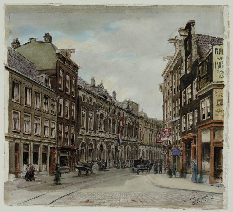 De Amstelstraat, met het Flora Theater, op een tekening uit 1916. Beeld