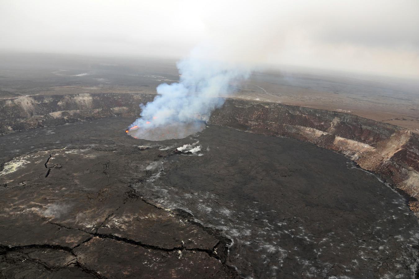De top van de Kilauea-vulkaan nabij Honolulu, Hawaï.