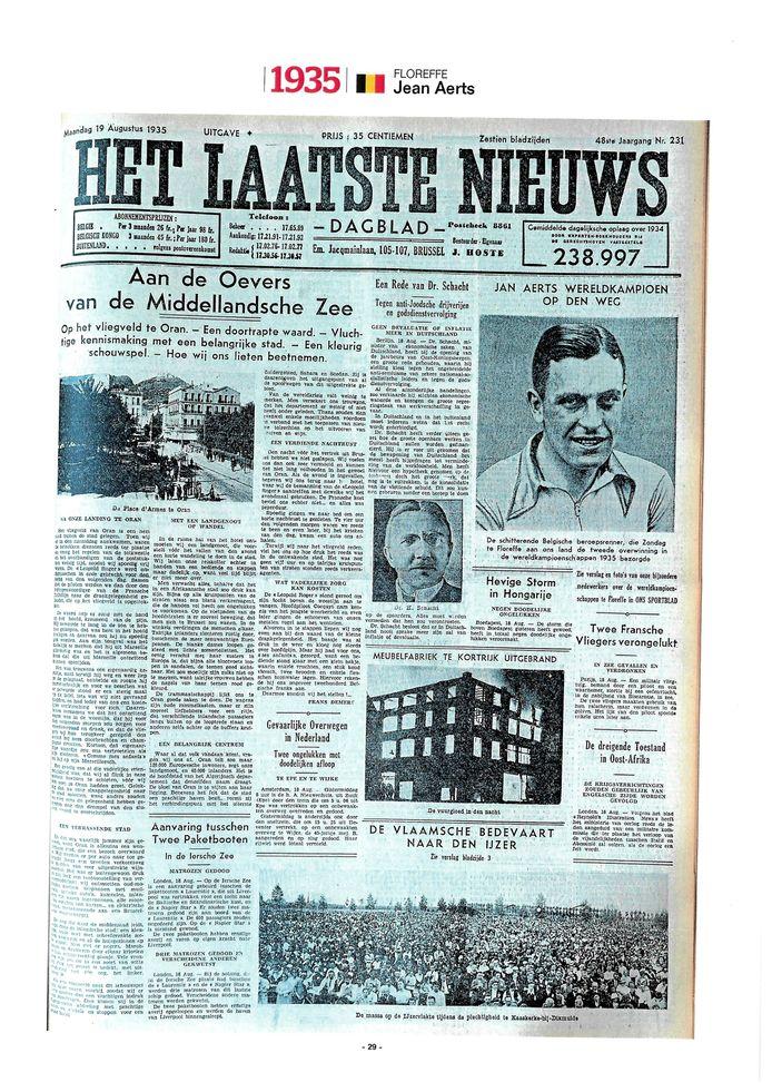 De pagina uit Het Laatste Nieuws van 1935.