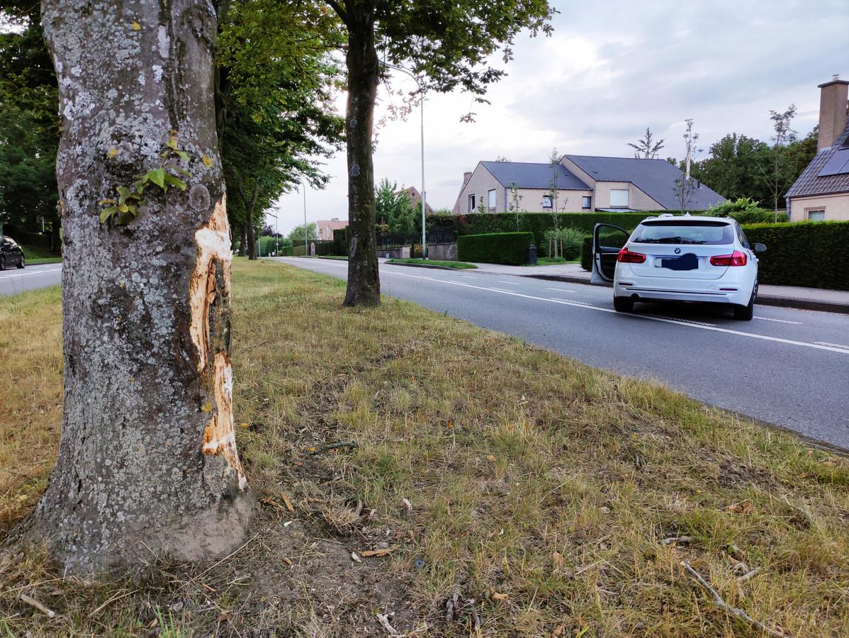 De bestuurder schampte eerst een boom en kwam iets verder tot stilstand