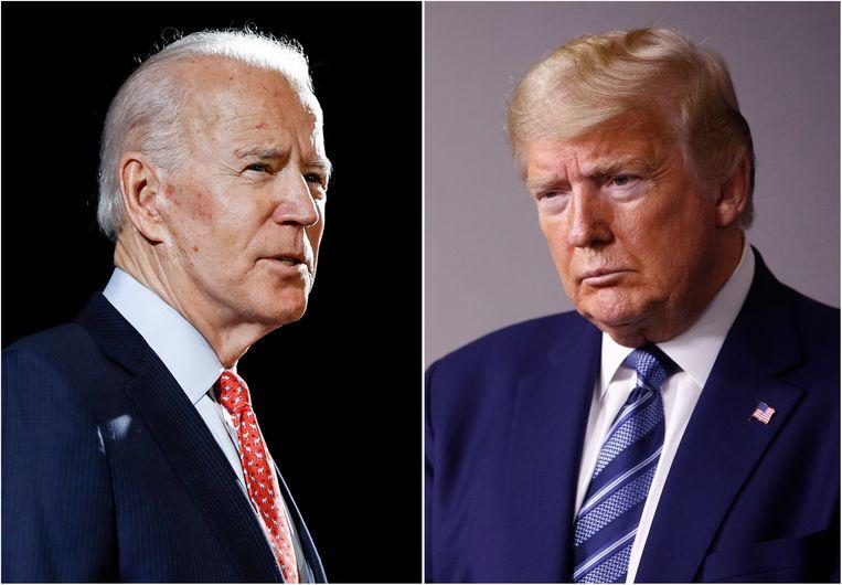 Amerikaans president Trump (r.) en zijn democratische uitdager Joe Biden. Beeld AP