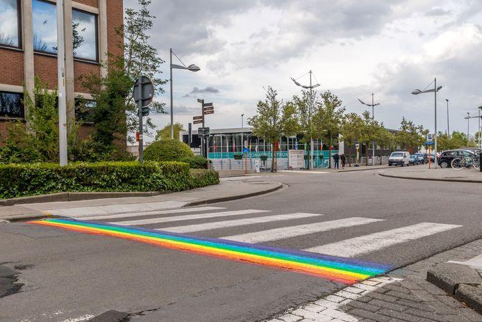 Tussen de bib en de academie zijn de regenboogkleuren uitgeschilderd langs het zebrapad, een uitvoering waar de oppositiepartijen geen fan van zijn