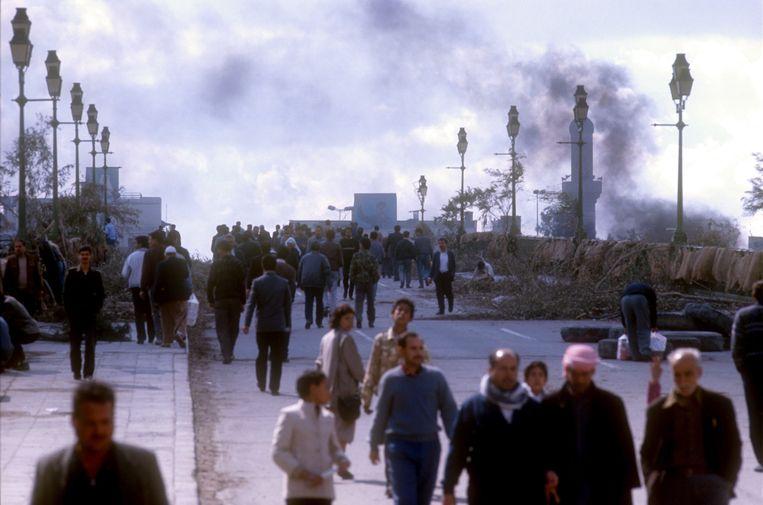 Centraal Bagdad tijdens de Golfoorlog, 26 februari 1991. Beeld Kaveh Kazemi / Getty Images