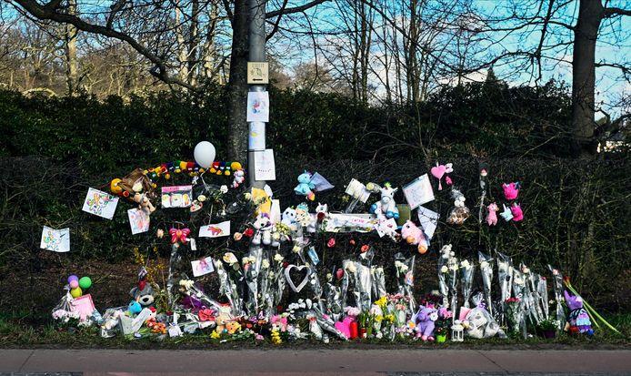 Een beeld van de plaats van het ongeval, waar de dagen erna massaal veel bloemen en eenhoorns neergelegd werden.