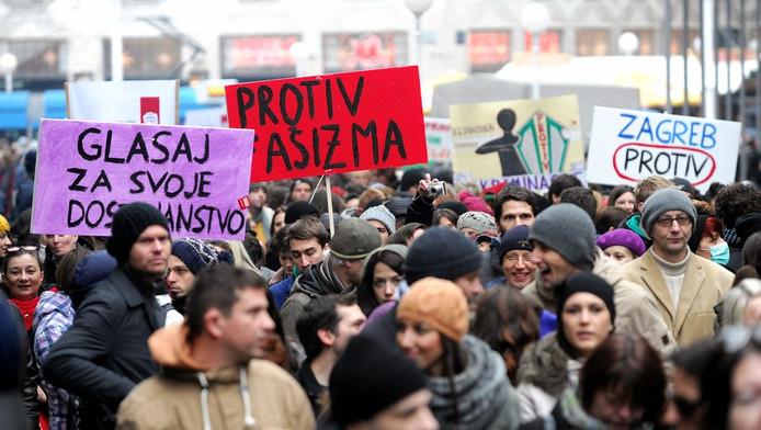 Kroaten protesteren tegen het verbod op het homohuwelijk.