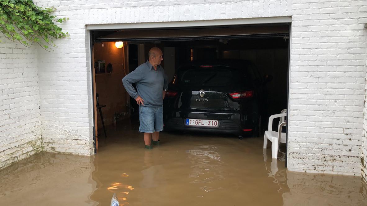 Bij de zware regenval van 15 juni kwamen ook in Glabbeek enkele huizen onder water te staan.