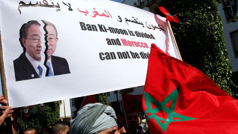 Marokkaanse protesten tegen de uitspraak van VN-baas Ban Ki-moon. Beeld AP
