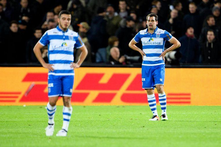 PEC Zwolle-spelers Mustafa Saymak en Dirk Marcellis. Beeld pro shots