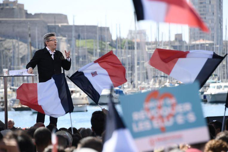 Jean-Luc Mélenchon vandaag op campagne in Marseille. Beeld AFP