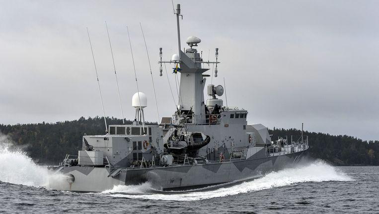 Een Zweeds schip tijdens de zoektocht naar de duikboot, de grootste dergelijke jacht sinds het einde van de Koude Oorlog. Beeld AP