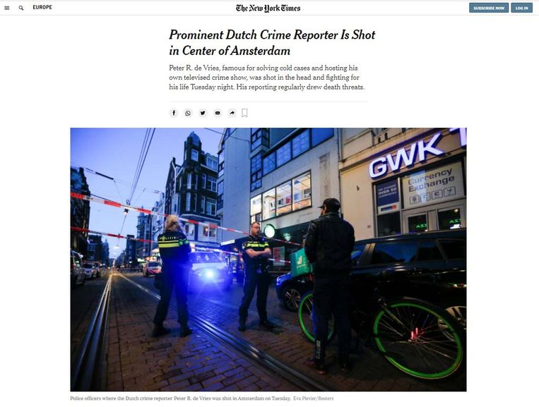 'Prominente misdaadjournalist neergeschoten in het centrum van Amsterdam,' meldt The New York Times. Beeld New York Times