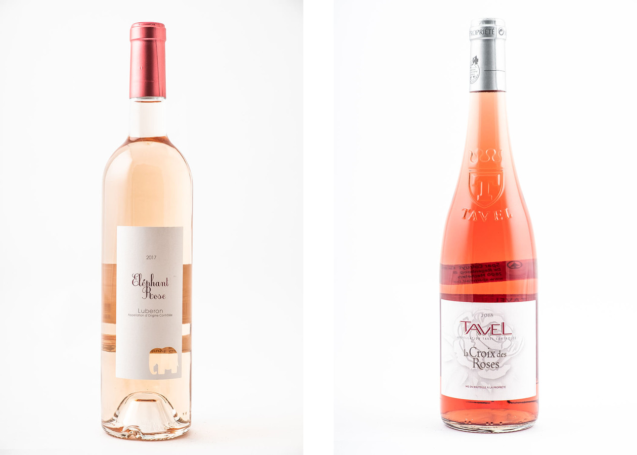 De roséwijnen van Spar, links: Eléphant Rosé en La Croix des Roses.