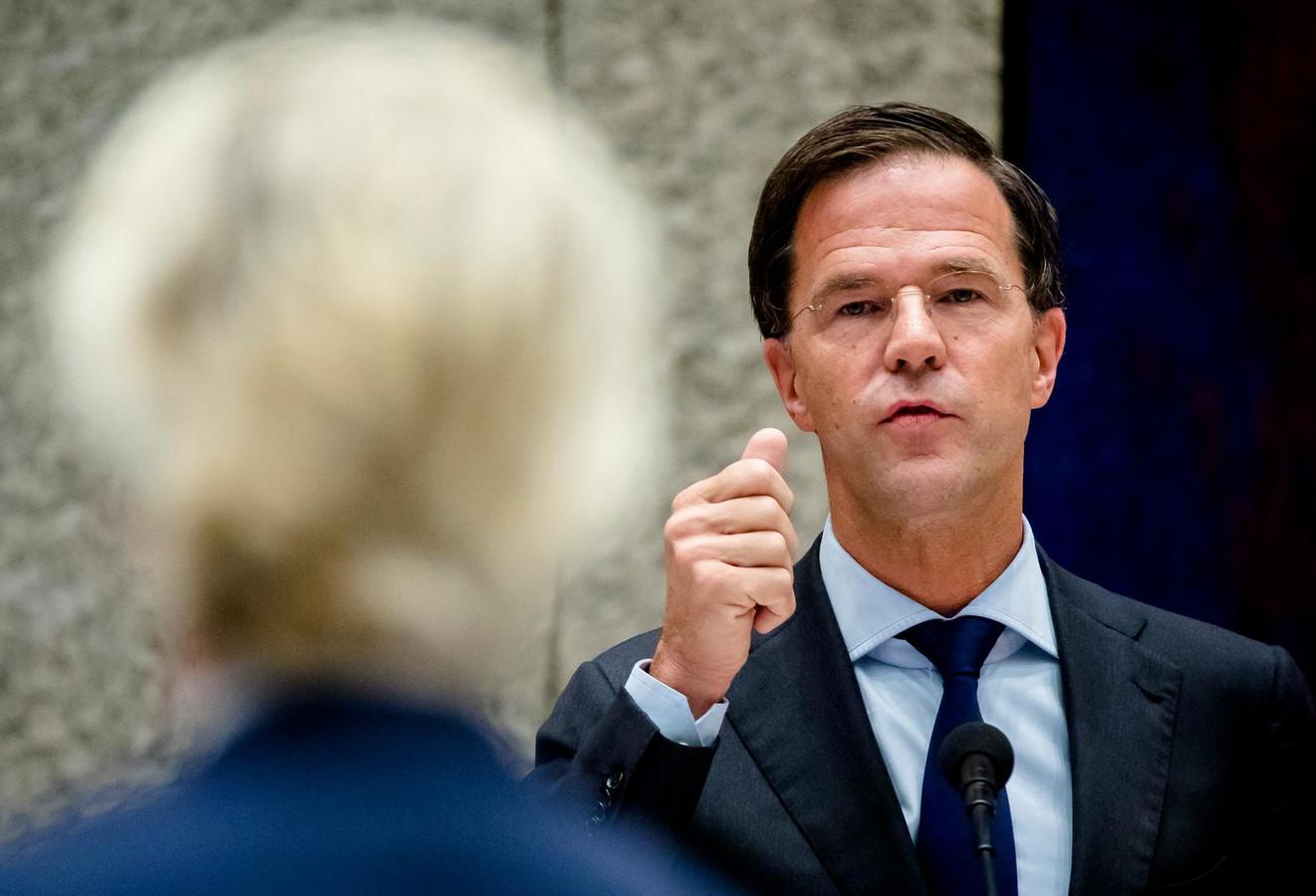 Premier Mark Rutte in debat met PVV-fractievoorzitter Geert Wilders op archiefbeeld