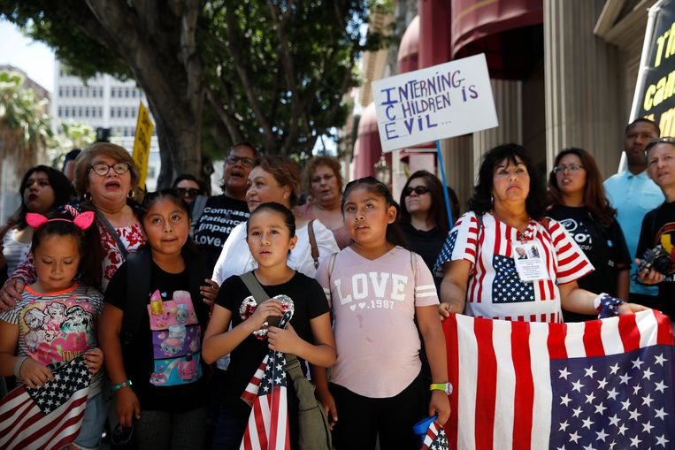 Demonstranten in Los Angeles. Beeld AP
