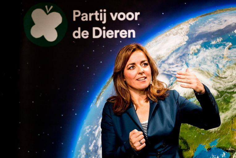 Partijleider Marianne Thieme van de Partij voor de Dieren tijdens de presentatie van het conceptverkiezingsprogramma voor de Tweede Kamerverkiezingen 2017. Beeld anp