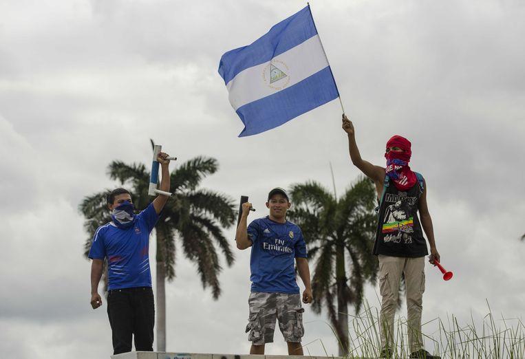 Demonstranten protesteren tegen de regering van Daniel Ortega in hoofdstad Managua.