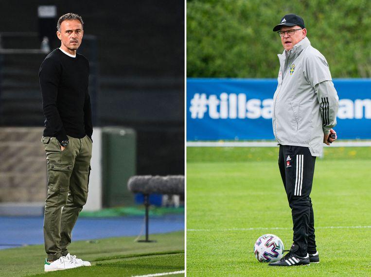 Luis Enrique, bondscoach van Spanje (links) en Janne Andersson, bondscoach van Zweden. Beeld AFP