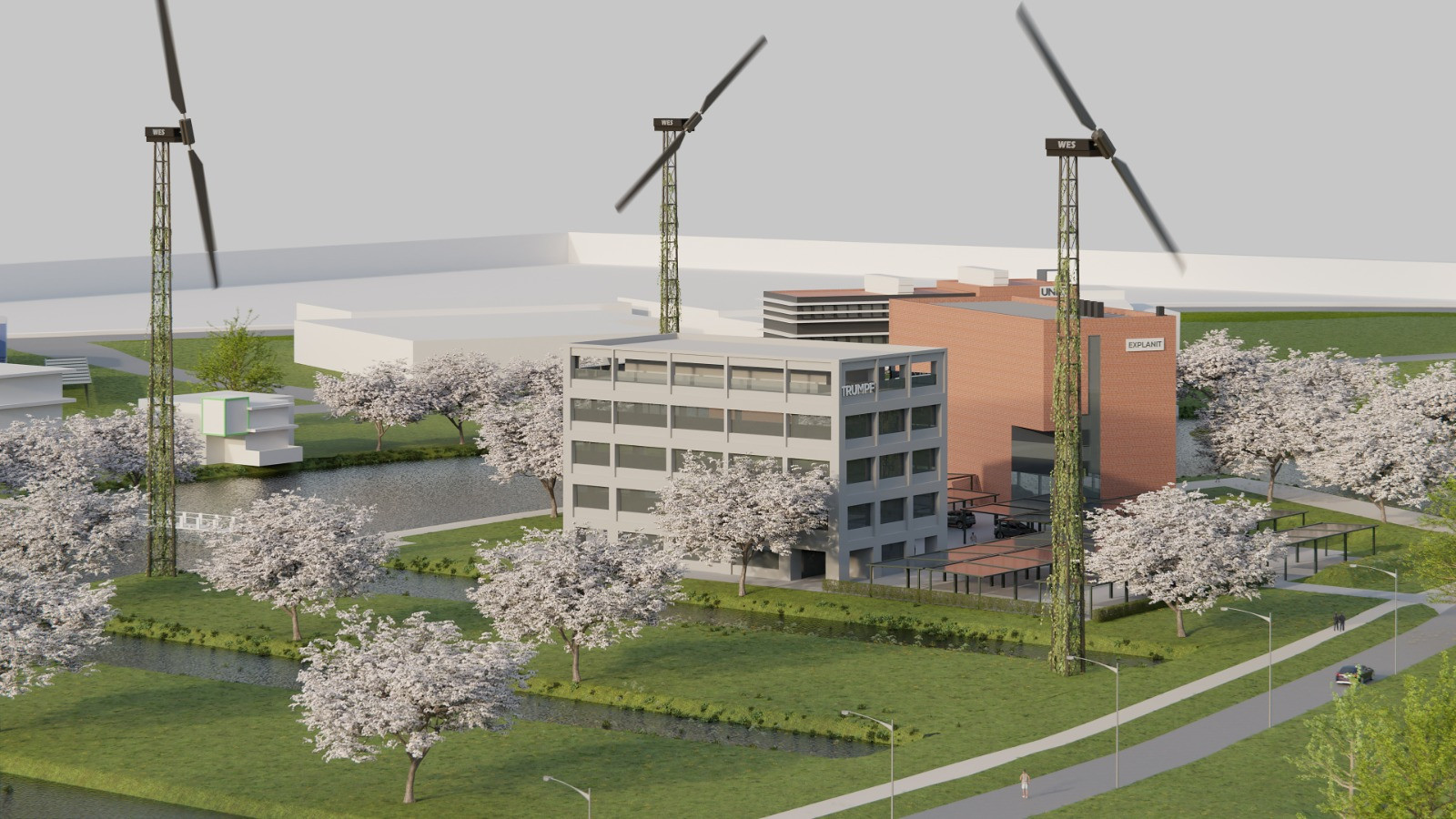 Lage windmolens, bij Westermaat Campus in Hengelo.