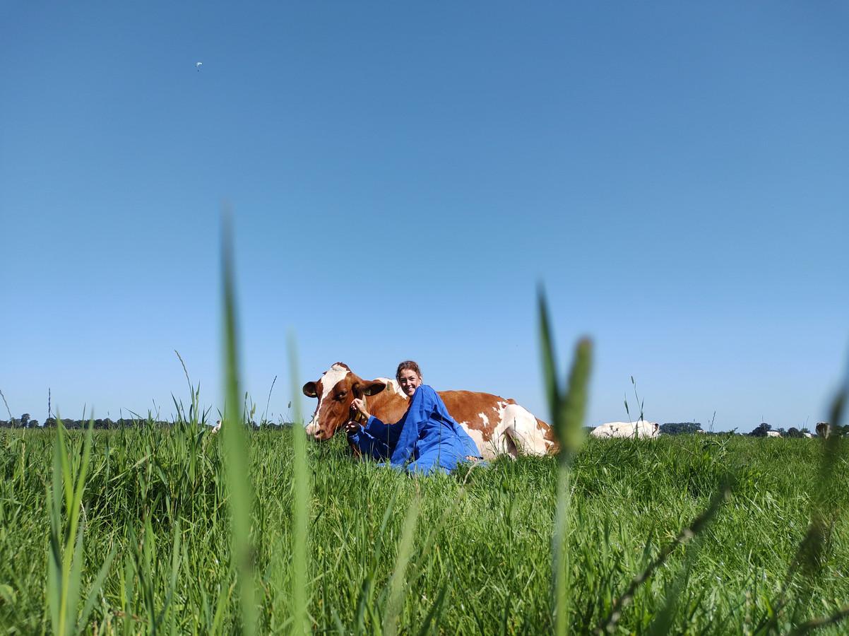 'Mijn dochter Suzanne kreeg van een hele lieve vriendin een bijzonder cadeau. Koeien knuffelen in een Limburgse wei.'