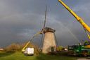 De molen in Hapert vorig jaar toen de wieken vervangen werden.