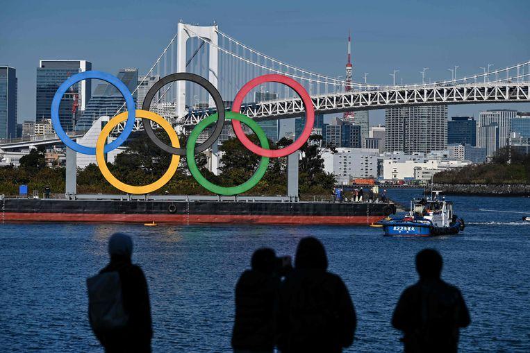 De olympische ringen in Tokio. Beeld AFP