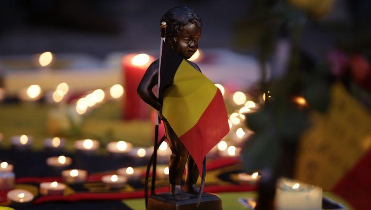 Kaarsen op het Beursplein in Brussel. Beeld afp