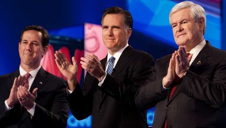 Rick Santorum, Mitt Romney en Newt Gingrich. Beeld AFP