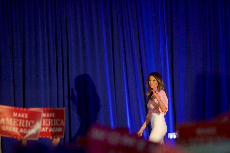 Dit keer geen plagiaat in de speech van Melania Trump, wel een waarschuwing voor schadelijke berichten op social media als Twitter.  Beeld REUTERS
