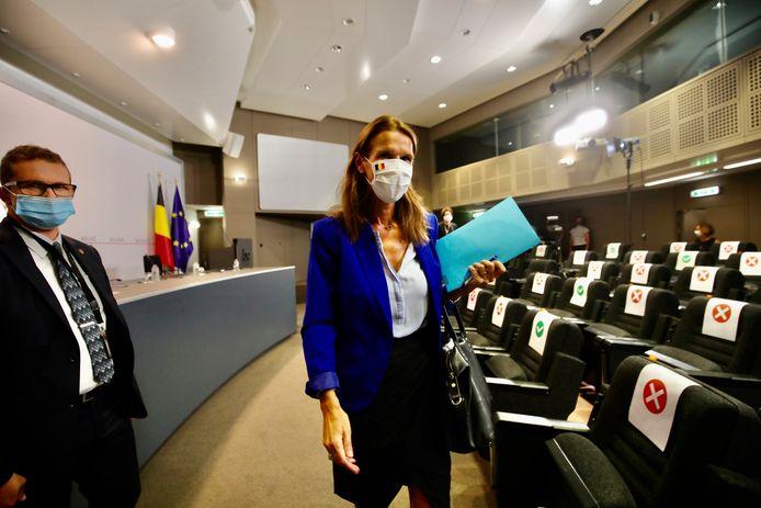 Premier Sophie Wilmès tijdens de persconferentie na de vorige Veiligheidsraad.