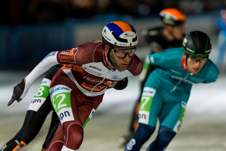 Jouke Hoogeveen tijdens de eerste marathon van het seizoen in Amsterdam.