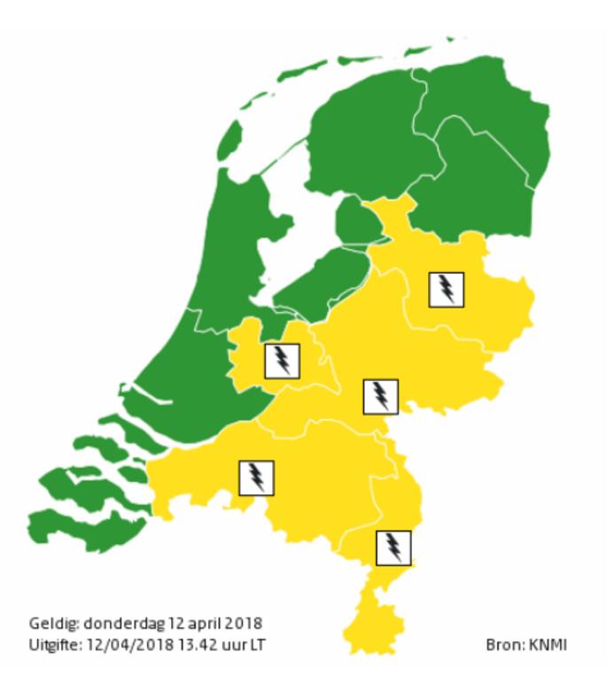 Onder andere in Overijssel en Gelderland geldt code geel.