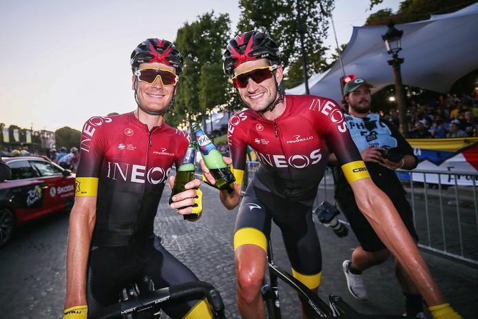 Dylan van Baarle en Wout Poels proosten op de Tour-winst van ploeggenoot Egan Bernal.