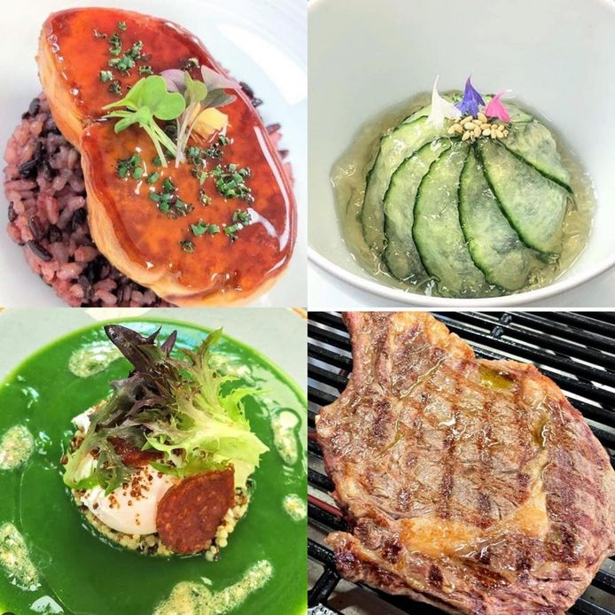Foie gras laqué et riz vénéré, concombre et wakamé en vinaigre de cidre, velouté et œuf plein air, bœuf charolais