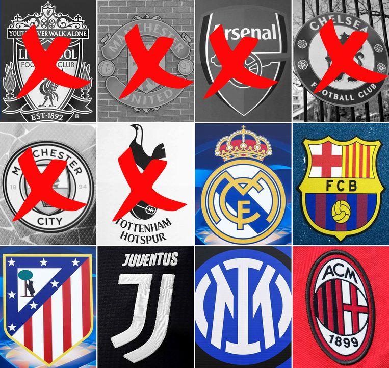 Er zijn nog zes clubs over in de Super League. Beeld AFP