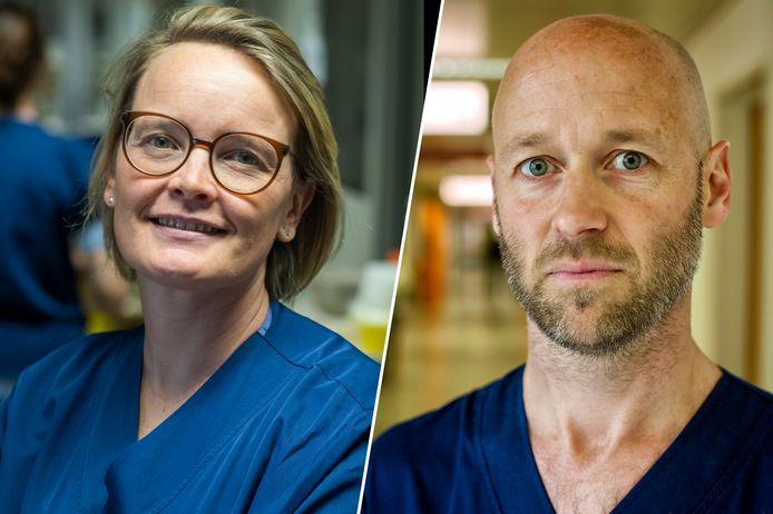 Intensiviste Jasperina Dubois, Jessa Ziekenhuis Hasselt, en intensivist Geert Meyfroidt UZ Leuven