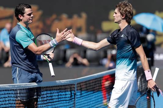 Milos Raonic (links) en Alexander Zverev.