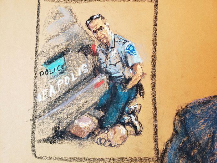 Een tekening gebruikt tijdens het proces tegen Chauvin, hier afgebeeld terwijl hij zijn knie op de nek van Floyd drukt.