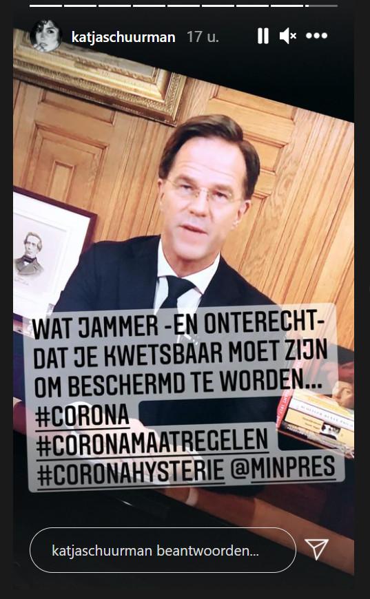 Katja Schuurman ageert op Instagram tegen de coronamaatregelen.