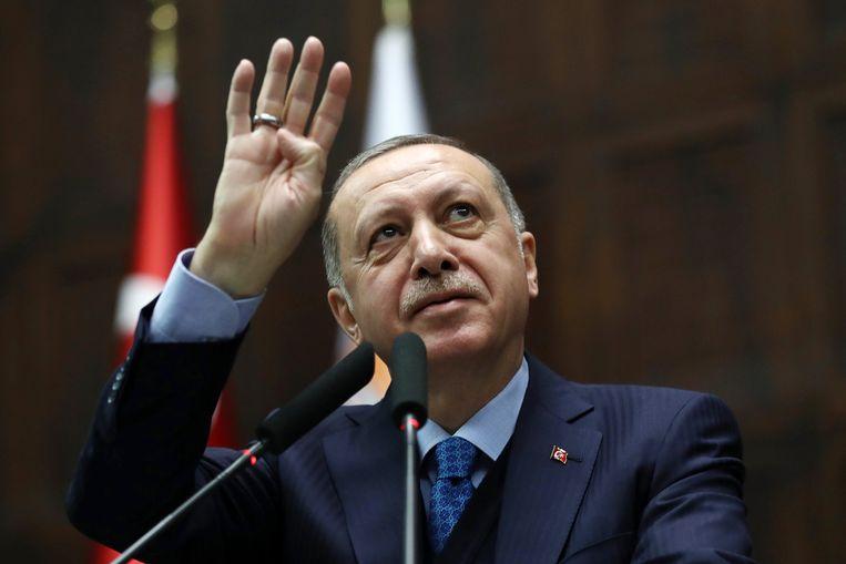 De Turkse president Erdogan tijdens een toespraak deze maand. Beeld AFP