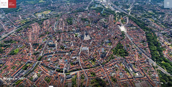 Een helikopterbeeld van Brugge.