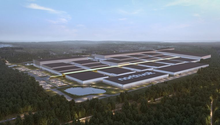 De fabriek van Northvolt die nu in Zweden wordt gebouwd. Volkswagen wil in 2030 zes van zulke complexen hebben. Beeld Northvolt
