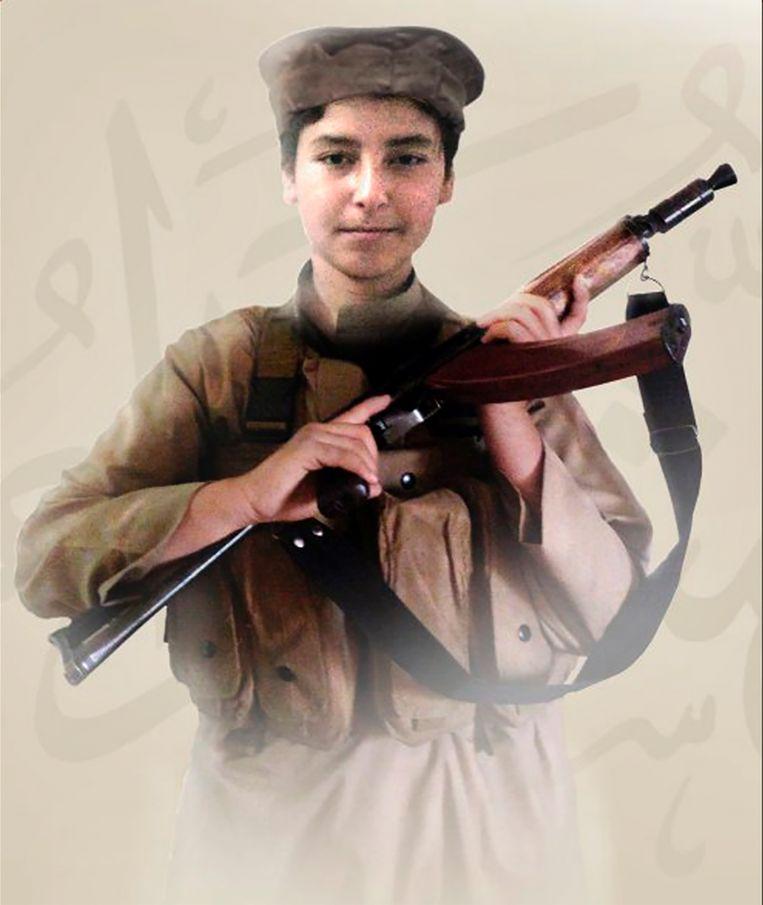 Ongedateerde foto van Huthaifa al-Badri, de zoon van Al-Baghdadi die in 2018 om het leven kwam tijdens gevechten metSyrische en Russische troepen. Beeld RV Militant photo via AP