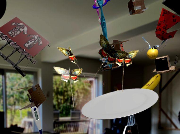 Beeld uit de Spinvis-app 'Alles is' met augmented reality in een woonkamer. Gemaakt door International Silence. Beeld International Silence