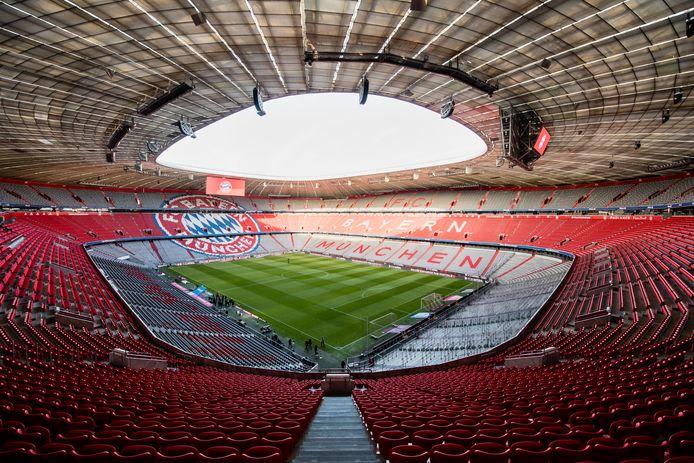 Een lege Allianz Arena van Bayern München.